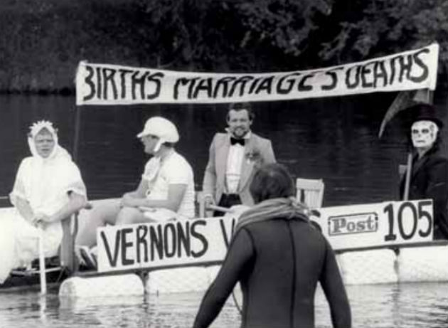 Raft race in 1981 down the Ribble