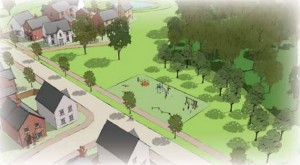 A play area is shown within the Gladman Homes plans