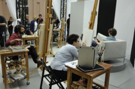Sally Dyker drawing live on the Sky Arts show
