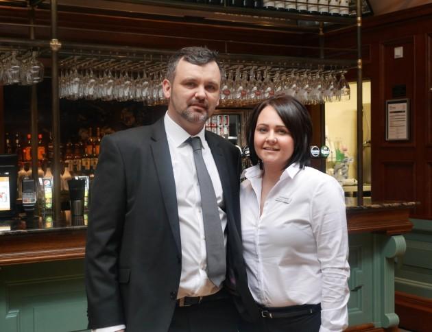 Pub Manager Darran Jacklin and Duty Manager Gemma Dawson