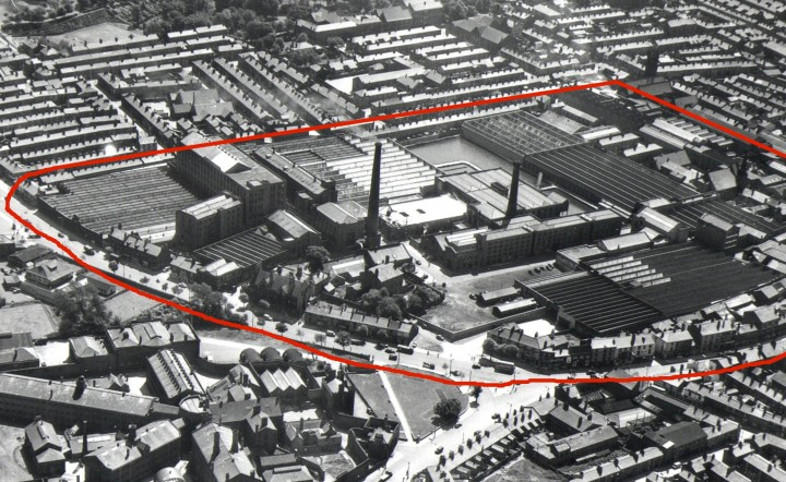 Aeiral view of Horrockses Yard Works, the red line indicating the boundary of the whole works.