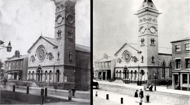 The image to the left shows the Baptist Church in early 1862 before the clock was installed, and to the right is shown a clock that was fitted in later 1862