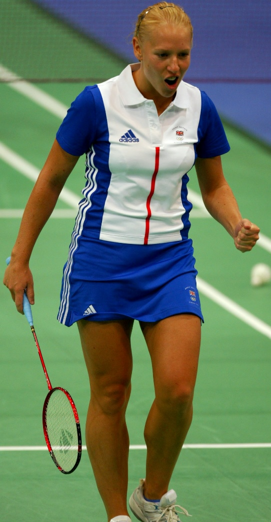 Olympics - Athens 2004 Olympic Games - Badminton - Mixed Doubles Quarter Final - 16/8/04 Great Britain's Gail Emms clinches her fist after winning a point Action Images / Richard Heathcote