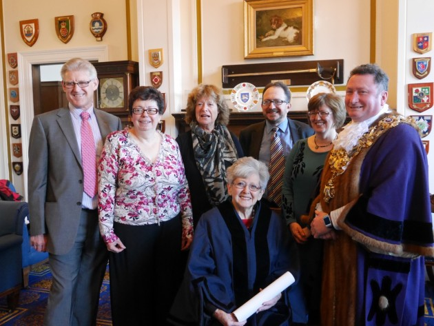 Lady Milena Grenfell-Baines with Mayor Councillor Nick Pompret and her family