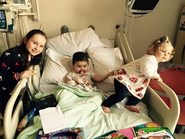 Pippa received a visit from her sister's Ruby (left) and Betsy (right) while in hospital