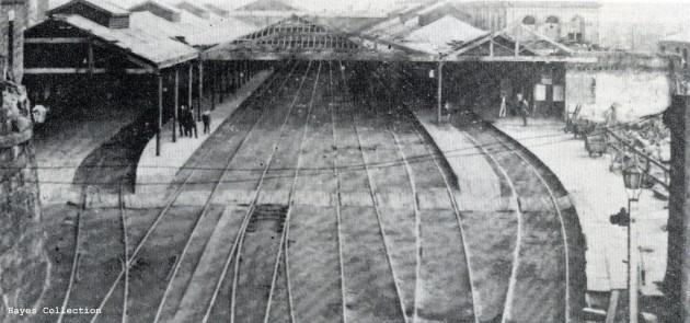 The dilapidated state of the North Union Railway Station Preston c. 1860