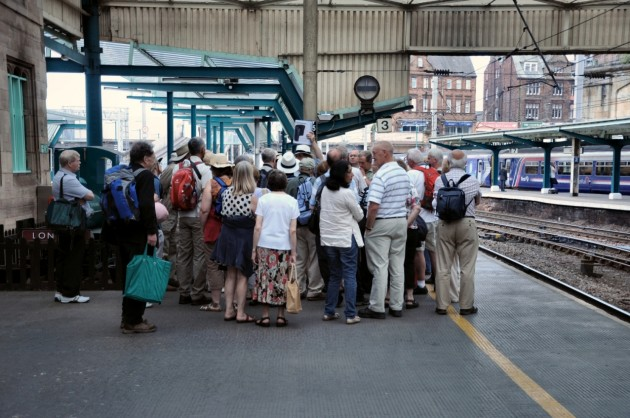 Howard Hammersley (2nd from left) on Carlisle Railway Station joining an excursion party with Aidan Turner-Bishop leading