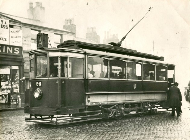 Preston Corporation Tram number 26, Fylde Street. November 11, 1933.