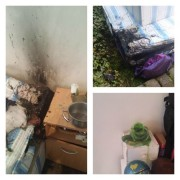 Candle fire damage shown by Lancashire Fire and Rescue Service