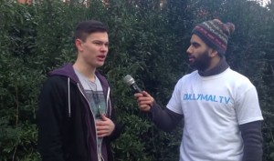 Abdullah interviewing people on the streets of Preston