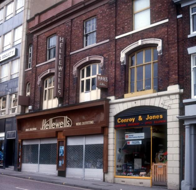 Helliwells and Conroy & Jones, Lune Street (west side), Preston 1987