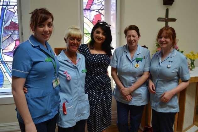 Nurses and nursing assistants from St Catherine's Hospice with Lucy Kay