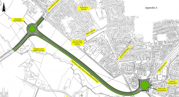 The route of the Penwortham Bypass. Click to see it bigger.