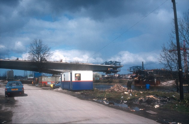 View of construction of New Road Bridge from Penwortham, Preston, 1984