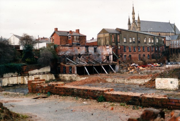 Demolition of Moorbrook Mill, Moorbrook Street, Preston March 1989