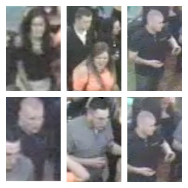 Images released by Lancashire Police of men and women they want to speak to