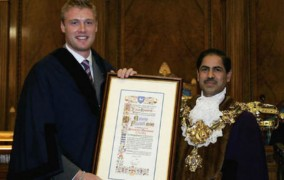 Bhikhu Patel when he was Mayor with Andrew Flintoff