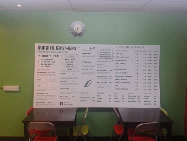 The new menu - Burrito Brothers