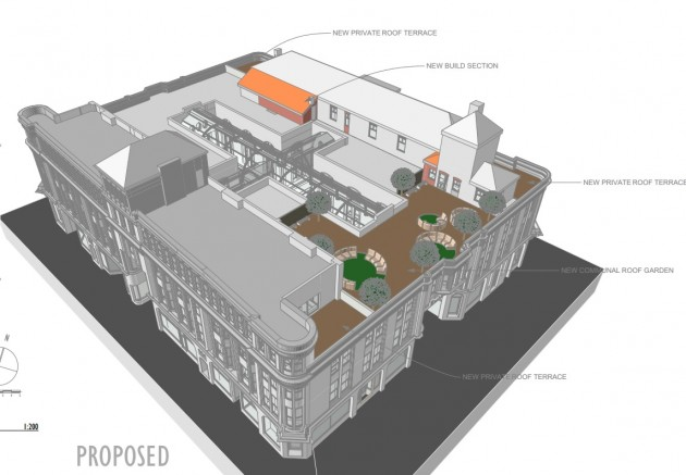 Architects plan showing the new roof terrace