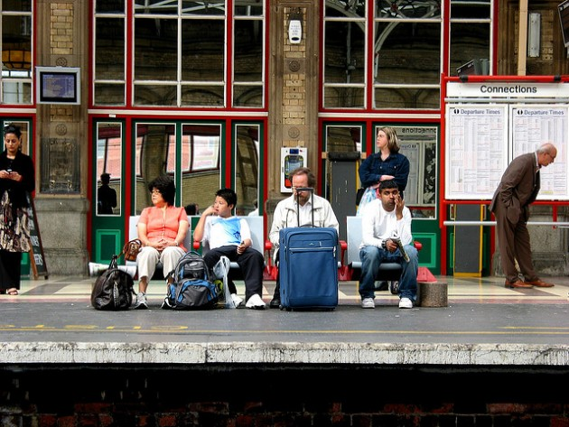 Passengers waiting at Preston station Pic: George D Thompson