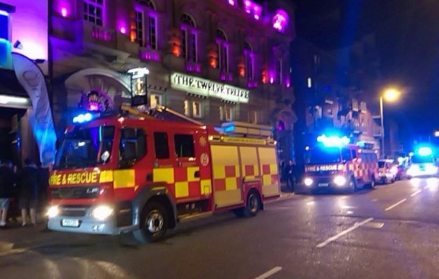 Fire crews outside the Twelve Tellers