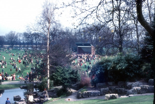 Easter in Avenham Park, Preston 1970: A great Easter scene on the park with the bandstand in the distance, just about where the Pavilion Cafe is now. Anyone remember it?