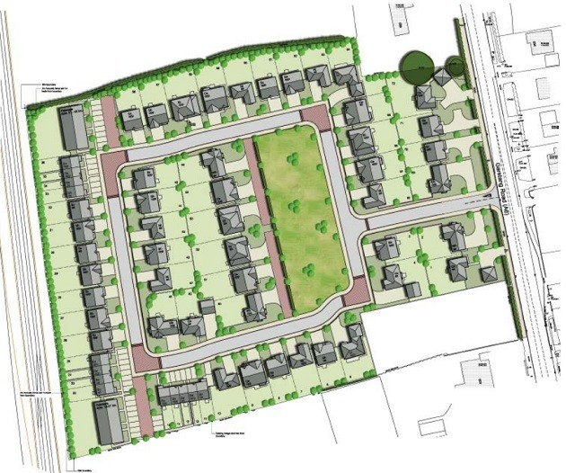 Aerial artist impression of the proposed housing development