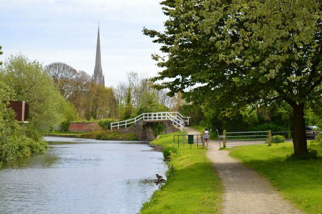 The canal at Preston with St Walburge's behind, a hidden side to the city
