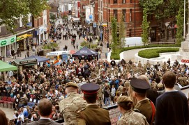 Crowds gather for Armed Forces Day in the Flag Market Pic: Gill Lawson