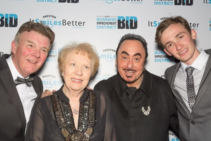 Margaret Mason with John Gillmore, far left, David Gest and Luke Marsden, far right