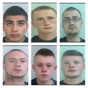 From top left to right clockwise: Zaahid Patel, Owen Whitesmith, Craig Walton, Stephen Walton, Joshua Bore and Arron Graham