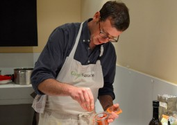 Tim Maddams demonstrates his cooking Pic: Tony Worrall