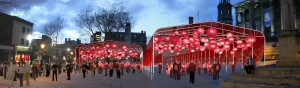 An artist impression of the canopies for the festival on the Flag Market