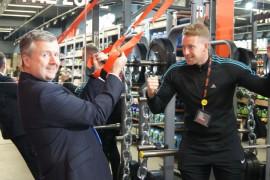 St George's manager Andrew Stringer with Met-Rx's Jonny Regan