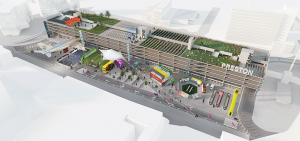 An artist impression showing how the Bus Station could look with the farm area on the roof Pic: Living Animals for Stark Urban Spaces Foundation