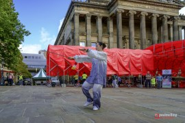 The red canopy is part of the Lancashire Encounters Festival