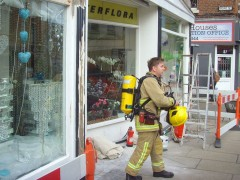 A firefighter leaves the florists in Friargate Pic: Tony Worrall