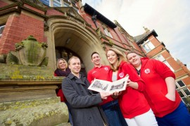 Making history: UCLan SU campaigns officer Lucy Haigh, James Arnold, history curator at the Harris Museum and Art Gallery, Tom Daley, UCLan SU activities and participation Officer, UCLan SU President Josie Linsel and Hannah Mason, UCLan SU media officer.