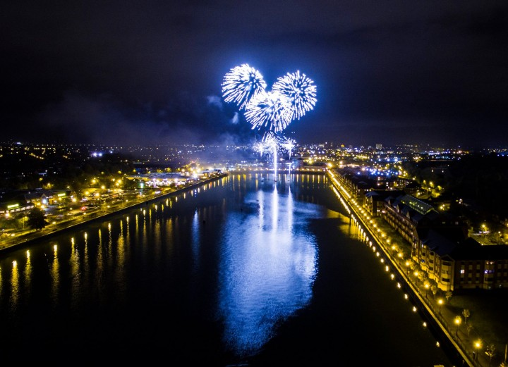 View of the fireworks over Preston Docks