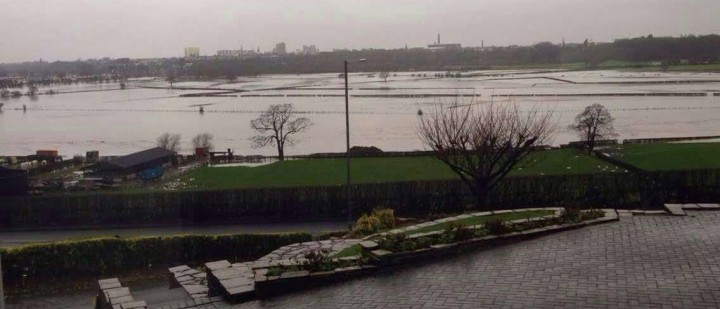 Preston skyline in the background, with flooded Walton le Dale in foreground Pic: Hamza Asmal