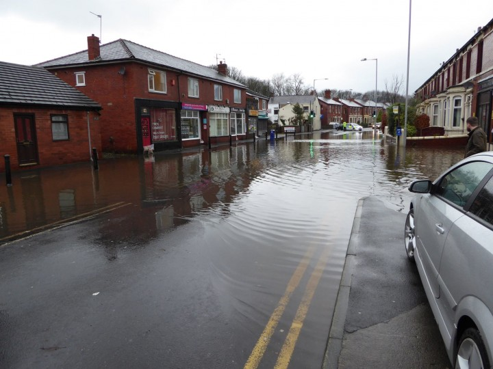 Leyland Road in Penwortham closed due to flooding Pic: Gill Smith