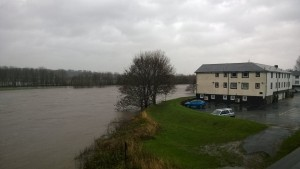 The Ribble is rising steadily near the Tickled Trout hotel Pic: Iain Moore