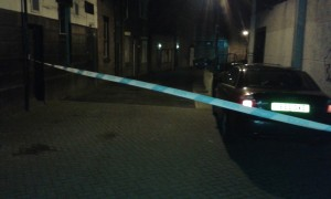 Police tape at top end of Lowthian Street by the market