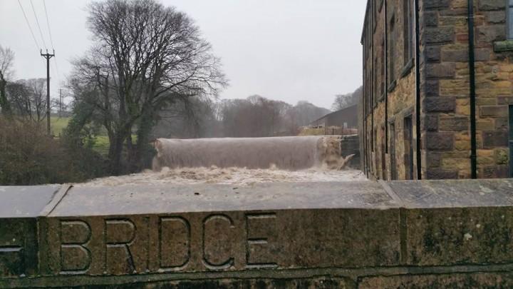 The River Ribble is bursting its banks at Roach Bridge, Samlesbury Pic: Moyra Wilson