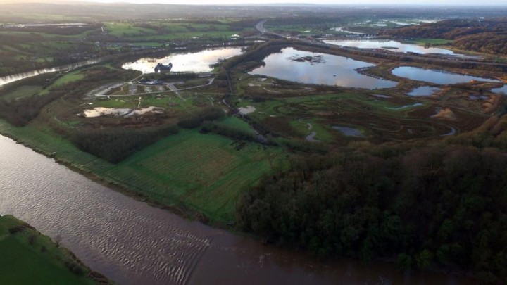 An aerial view of the flooding around Brockholes Pic: Stephen Melling