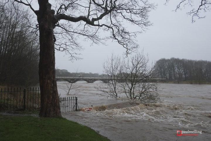 The Ribble bursting its banks at Avenham Park