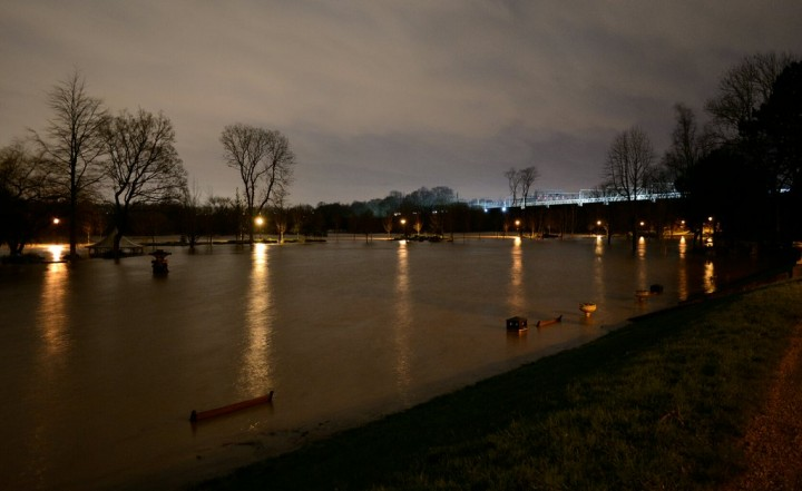 Miller Park disappears in flood water Pic: FireKate91