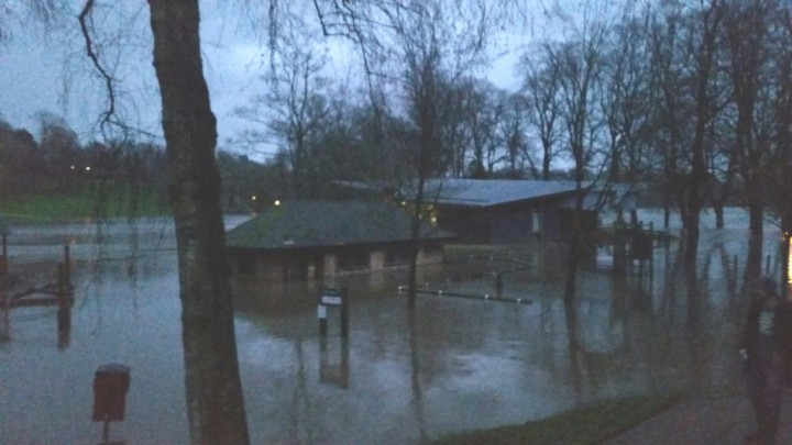 Avenham Park Pavillion slowly disappearing in flood water Pic: Peter Kelly