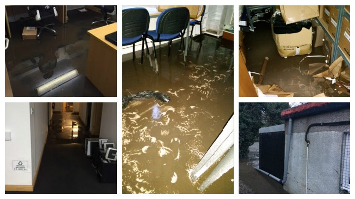 Flooded offices in Walton-le-Dale
