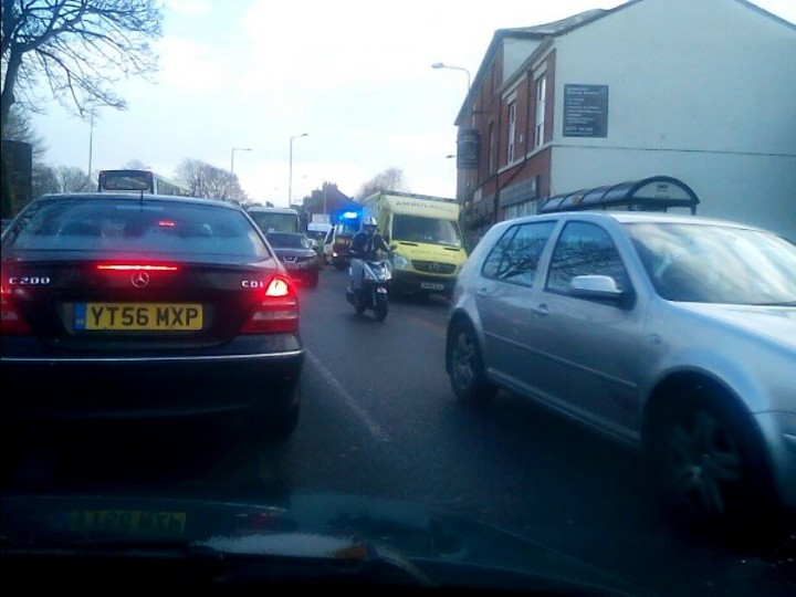 Emergency services attend to a vehicle in Fulwood